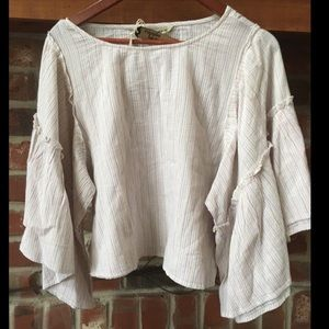 NWT Hippie Laundry Boho Striped Top w Bell Sleeves